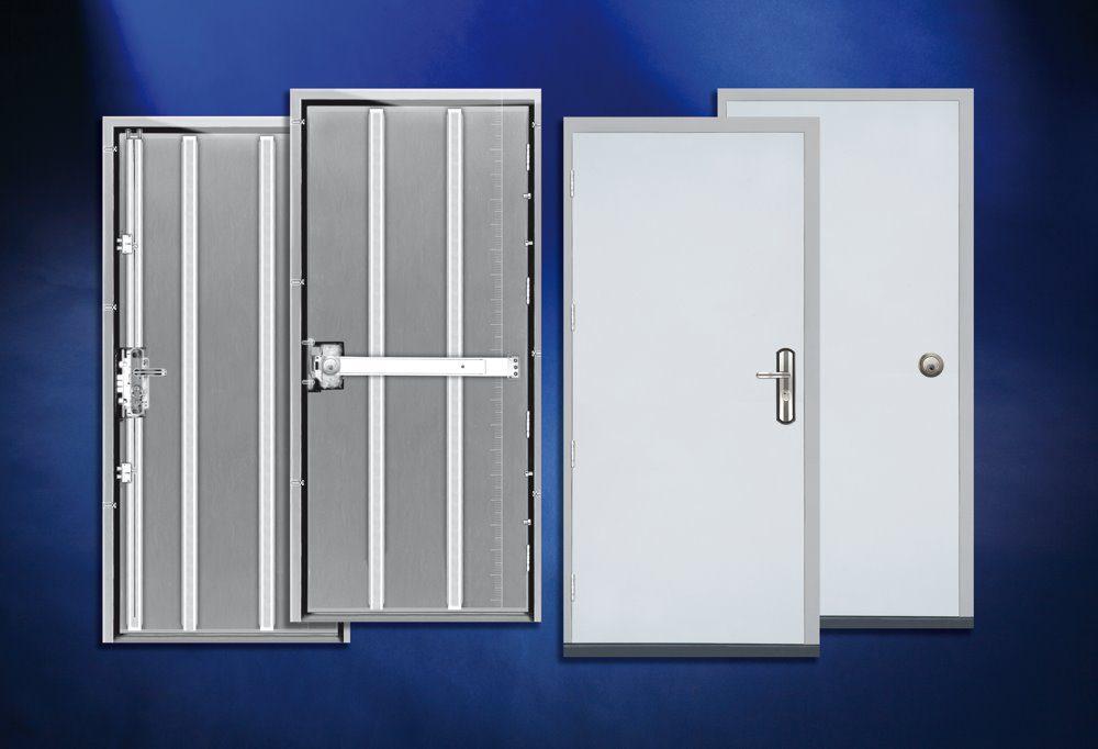 Secure steel exit doors